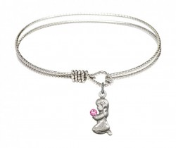 Cable Bangle Bracelet with a Praying Girl Charm [BRST017]