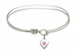 Cable Bangle Bracelet with a Puff Heart Charm [BRST012]