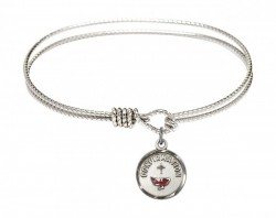 Cable Bangle Bracelet with a Red Dove Charm [BRC0601X]