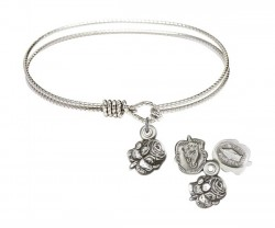 Cable Bangle Bracelet with a Rosebud Charm [BRC0202]
