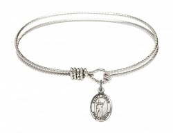 Cable Bangle Bracelet with a Saint Aidan of Lindesfarne Charm [BRC9381]