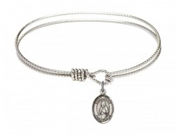 Cable Bangle Bracelet with a Saint Alice Charm [BRC9248]