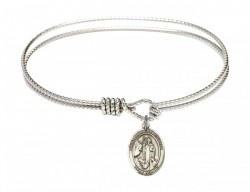 Cable Bangle Bracelet with a Saint Anthony of Egypt Charm [BRC9317]