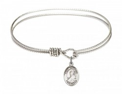 Cable Bangle Bracelet with a Saint Benjamin Charm [BRC9013]