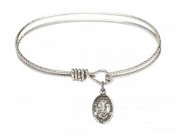 Cable Bangle Bracelet with a Saint Catherine of Bologna Charm [BRC9354]