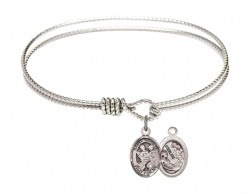Cable Bangle Bracelet with a Saint Cecilia Marching Band Charm [BRC9179]