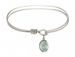 Cable Bangle Bracelet with a Saint Christopher with blue enamel Charm [BRC9022E]