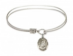 Cable Bangle Bracelet with a Saint Edburga of Winchester Charm [BRC9324]