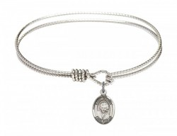 Cable Bangle Bracelet with a Saint Gianna Beretta Molla Charm [BRC9322]