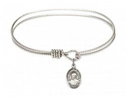 Cable Bangle Bracelet with a Saint Ignatius of Loyola Charm [BRC9217]