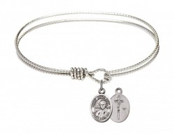 Cable Bangle Bracelet with a Saint John Paul II Charm [BRC9234]