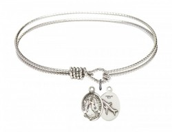 Cable Bangle Bracelet with a Saint Joseph of Cupertino Charm [BRC9057]