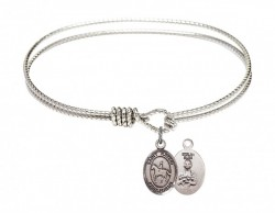 Cable Bangle Bracelet with a Saint Kateri Equestrian Charm [BRC9182]