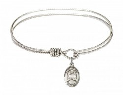 Cable Bangle Bracelet with a Saint Kateri Tekakwitha Charm [BRC9061]