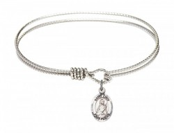Cable Bangle Bracelet with a Saint Lucy Charm [BRC9422]