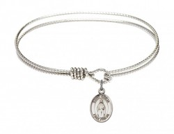 Cable Bangle Bracelet with a Saint Odilia Charm [BRC9319]
