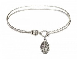 Cable Bangle Bracelet with a Saint Paul of the Cross Charm [BRC9318]