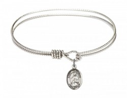 Cable Bangle Bracelet with a Saint Placidus Charm [BRC9240]