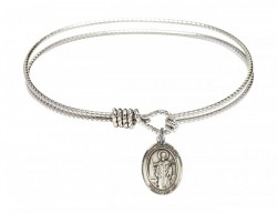 Cable Bangle Bracelet with a Saint Wolfgang Charm [BRC9323]
