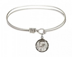 Cable Bangle Bracelet with a Scapular Charm [BRC0601S]