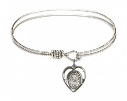 Cable Bangle Bracelet with a Scapular Charm [BRC4126]