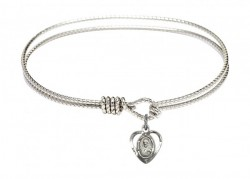 Cable Bangle Bracelet with a Scapular Charm [BRC5402]