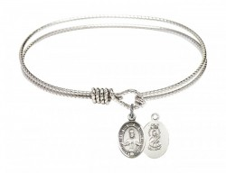 Cable Bangle Bracelet with a Scapular Charm [BRC9098]