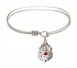 Cable Bangle Bracelet with a Scapular Charm [BRST047]