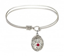 Cable Bangle Bracelet with a Scapular Charm [BSST049]