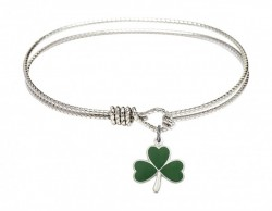 Cable Bangle Bracelet with a Shamrock Charm [BRC5243]