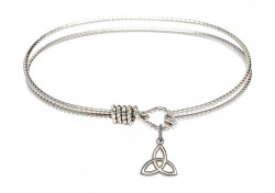 Cable Bangle Bracelet with a Trinity Irish Knot Charm [BRC5100]