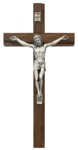 Carved Walnut Wall Crucifix, 10 Inch [CRXMV004]