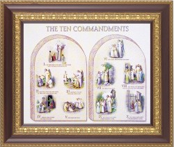 Catholic Ten Commandments Illustrated Framed Print [HFP149]