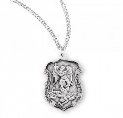 Charm Size Badge Shape Saint Michael Necklace [HMM3003]