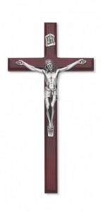 Cherry Stained Beveled Wall Crucifix - 10 inch [CRX3858]