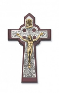 "Cherry Stained Celtic Wall Crucifix - 5.75""H [CRX3862]"