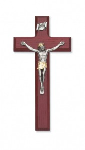 "Cherry Wood Crucifix with Two Tone Corpus - 8""H [MVCR1023]"