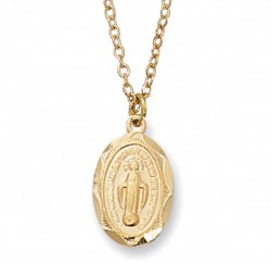 Child Size Oval Gold Plated Miraculous Medal [MV2002]