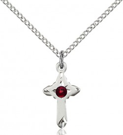 Child's Pointed Edge Cross Pendant with Birthstone Options [BLST2525]