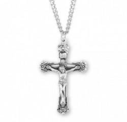 Christ Adorned in Flowers Men's Crucifix Necklace [HMM3280]