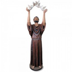 Church Size Saint Francis with Dove 48 Inch High Statue [CBST076]