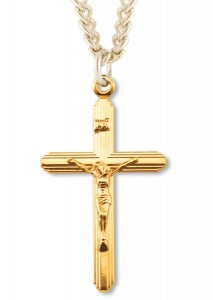 View all crucifix pendants catholic faith store classic crucifix pendant gold plated sterling silver recrx1004 mozeypictures Choice Image
