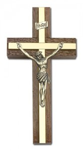 "Classic Crucifix Wall Cross in Walnut and Metal Inlay 4"" [CRB0024]"