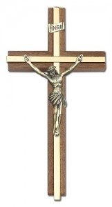 "Classic Crucifix Wall Cross in Walnut and Metal Inlay 6"" [CRB0062]"