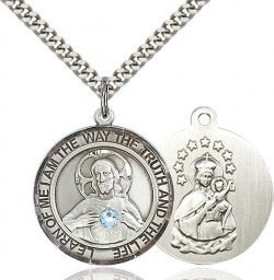 Classic Round Sacred Heart Medal Birthstones [BLST7098RDBRTH]