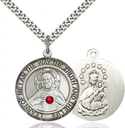 Classic Round Sacred Heart Medal with Birthstone Options [BLST7098RD]