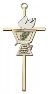 "Confirmation Chalice and Dove Wall Cross 6"" [CRB0041]"