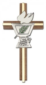 "Confirmation Chalice and Dove Wall Cross in Walnut Wood with Metal Inlay 6"" [CRB0055]"