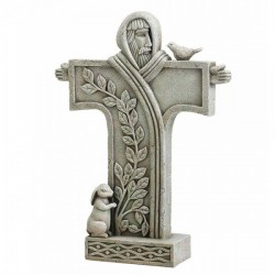 "Contemporary Saint Francis Standing Cross Garden Statue 18"" High [CBSD009]"