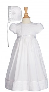 Cotton Baptism Gown with Floral Lace and Ribbon [LTM0761]